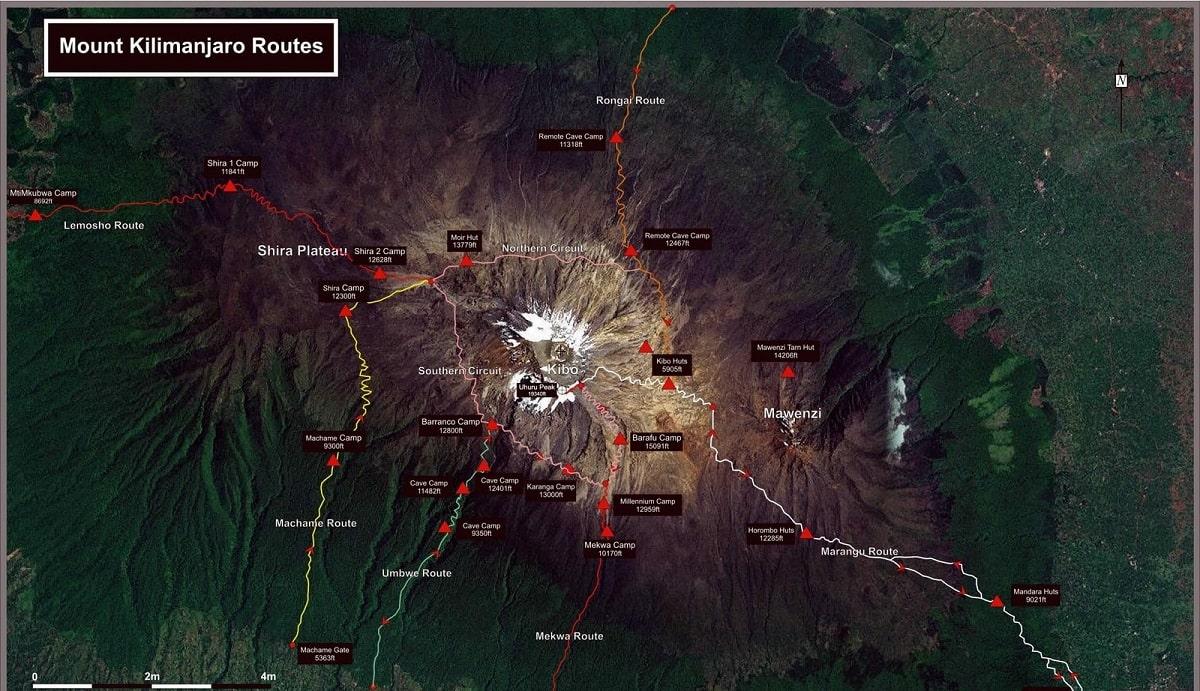 Маршруты на Килиманджаро карта